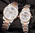 2016 Nova SINOBI Marca de relógios de Quartzo Amantes de Relógios Dos Homens Das Mulheres Vestido Relógios Moda Casual Aço Completa Data relógios de Pulso À Prova D' Água