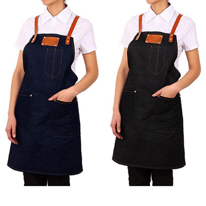 2018 Senior Denim cowboy Schürze Küche Bib Leder Riemen Schürze für Frauen Männer kochen Restaurant Kellnerin Custom Print Logo BBQ - 2