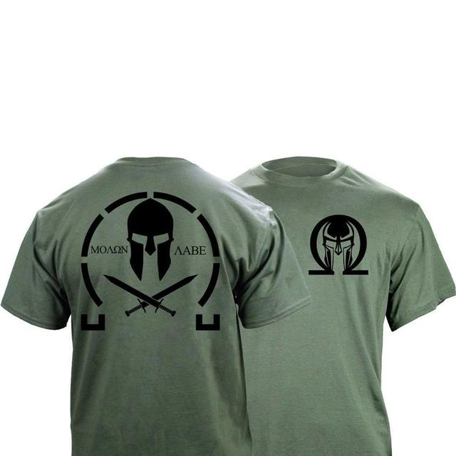 Männer Klassische Molon Labe Grafik T Shirt Doppel Seite Neue Sommer Mode männer Einfache Kurzen Ärmeln Baumwolle Anpassen T shirts