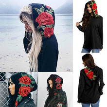 Women Hats 3D flowers Long Sleeve Hoodie Sweatshirt Casual Hooded Coat Pullover Tops Size S-XL(China)