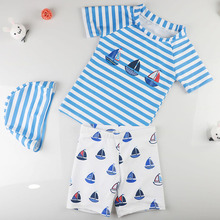 c83caa26cb7 2018 Summer Baby Swimwear Striped Boat Children Boys Swimming Suit 3pcs Kids  Swimsuit Toddlers Bathing Suits · 6 Colors Available