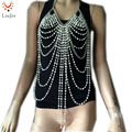 BC-520 Chain Faux Pearl Halter Bra Body Chain Jewelry Harness  Burlesque Lingerie Best Gift For Her