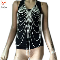 BC 520 Chain Faux Pearl Halter Bra Body Jewelry Chain Jewelry Harness Burlesque Lingerie Best Gift For Her