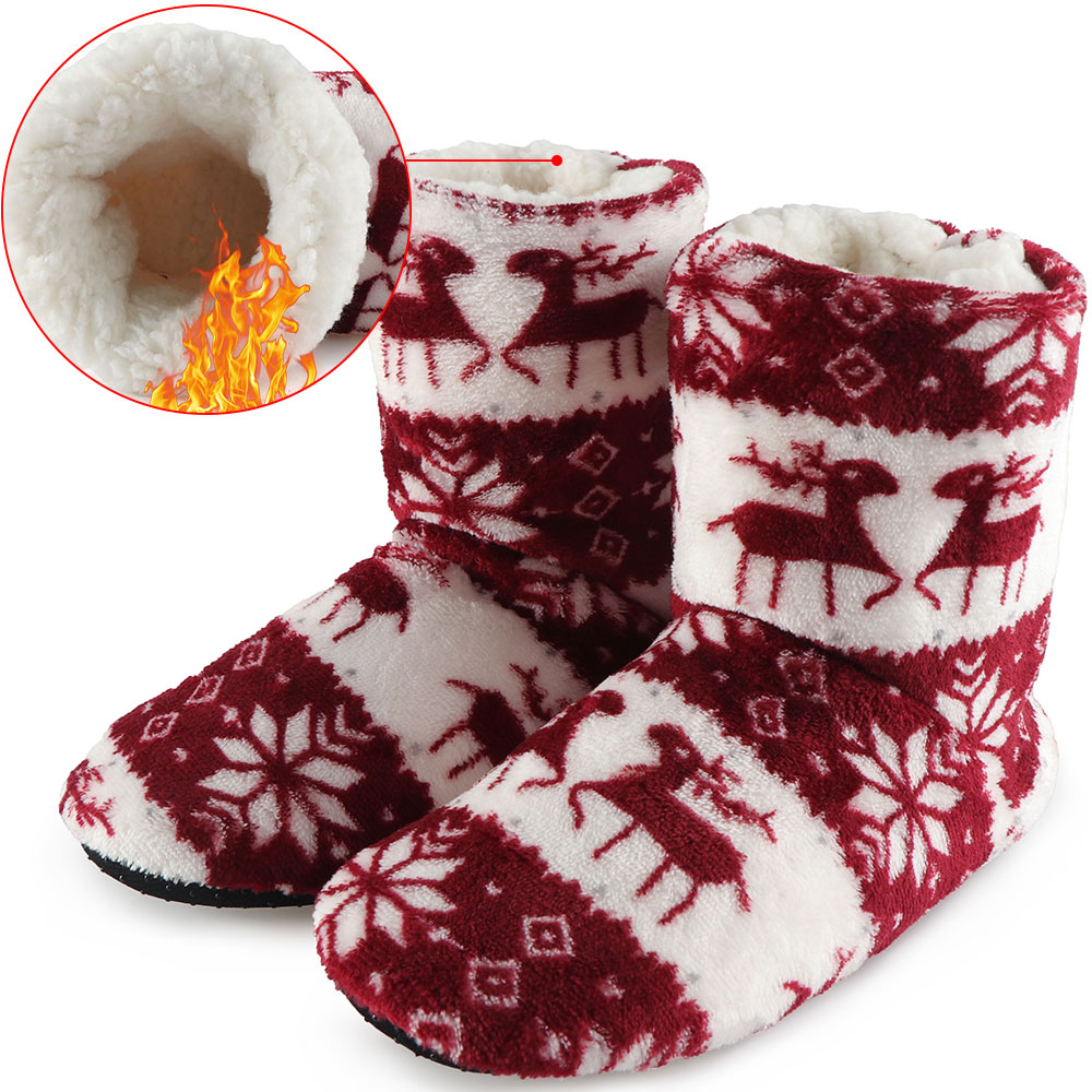 Winter Fur Slippers Women Plush Warm Cotton Home Slippers Christmas Elk Indoor Socks Shoes For Woman Floor House Shoes winter warm slippers men indoor shoes cotton pantoffels casual crocus clogs with fur fleece lining house floor slippers ks250