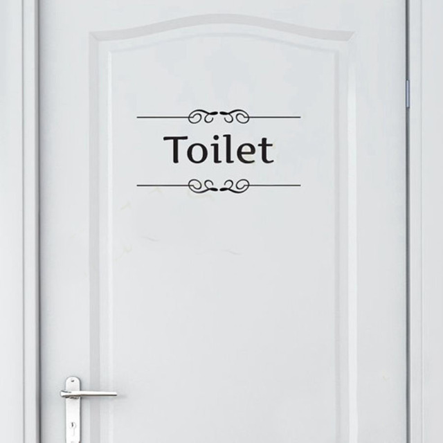 Free Shipping Vintage Wall Sticker Bathroom Decor Toilet Door Vinyl Decal  Transfer Vintage Decoration Quote Wall