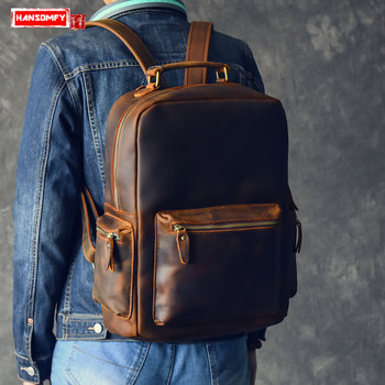 2019 Retro Crazy Horse Leather Large Capacity Men's Backpack first Layer Leather male shoulder bag Brown laptop Travel Backpacks