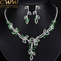 Elegant Leaf Drop Green Cubic Zirconia Simulated Diamond Big Bridal Necklace And Earrings Wedding Jewelry Sets For Women T242