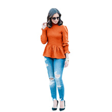 New Blouse Women Trumpet Sleeve Simple Solid Color Shirt Chiffon Shirt Blusas Verano Mujer 2019 Long Sleeve Blouse Women Clothes tiered trumpet sleeve pearl embellished blouse