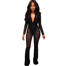 Sexy Striped Sheer Mesh Jumpsuit with Lining Women Long Sleeves Deep V- Neck Wide Leg Romper Clubwear Party Overalls sheer mesh contrast sequin romper