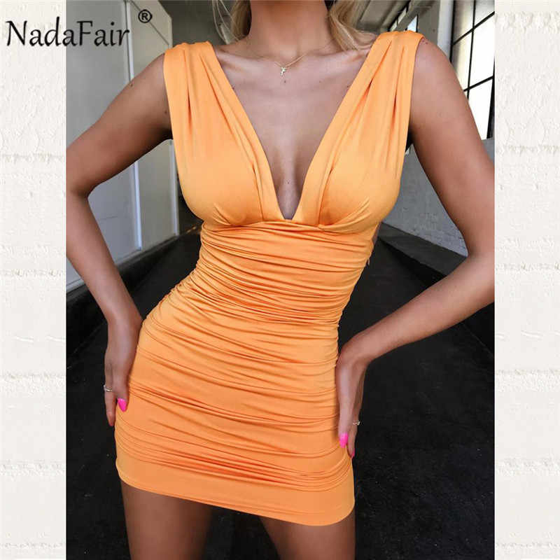 Nadafair klub Party Sexy Bodycon sukienka kobiety drapowana głębokie V Neck Backless bandaż Ruched Wrap Mini letnia sukienka Vestidos