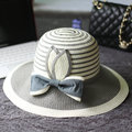 Rayas Remiendo de la Paja Sombreros para el Sol Para Las Mujeres de Ala Ancha Beach Floppy Caps ELDS-011 Arco Grande Del Envío Libre