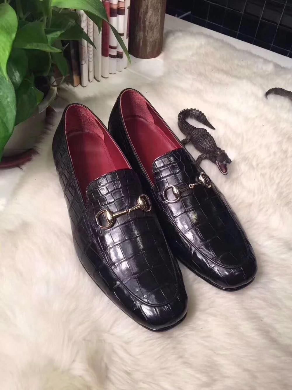 2018 Genuine real genuine crocodil belly skin men business shoe, top quality crocodile skin men shoe black brown color