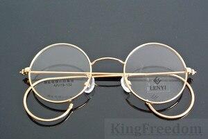 Image 2 - 42mm גודל קטן בציר עגול עתיק חוט רים מתכת משקפיים מסגרות זהב Gunmetal שפה מלאה משקפיים קוצר ראיה Rx מסוגל