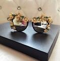 Novo grande círculo em torno do quadro Marca Designer sunglasses personalidade anjo pérola flor feminina moda óculos de sol das mulheres óculos de sol