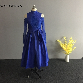 New Arrival Royal blue Short evening dress 2020 abendkleider Long sleeve Evening gown Robe soiree Formal dress robe soiree
