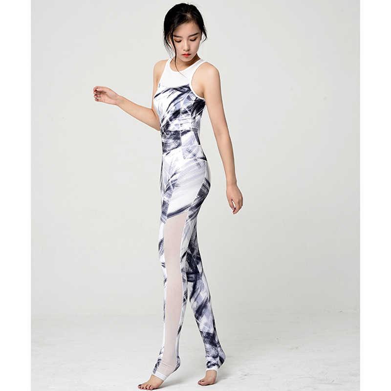 3379812ac97 One Piece Tracksuits Yoga Sets Print Floral Tight Leggings Women Workout  Clothing Sets Jumpsuit Gym Pilates Athletic Sport wear