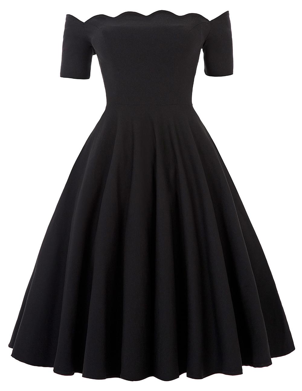 Belle Poque 17 Women Dress Robe Vintage Off Shoulder Black Summer Dress Jurken 1950s 60s Retro Rockabilly Swing Party Dresses 11