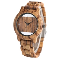 Luxury Top Brand Full Wooden Watches Handmade Nature Wood Hollow Wrist Watch Women Men Fold Clasp