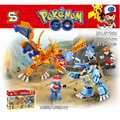 Pokemon Ash Ketchum VS Blastoise Pokeball Edificio mini Ladrillos figuras Charizard SY824 Lepin Compatible