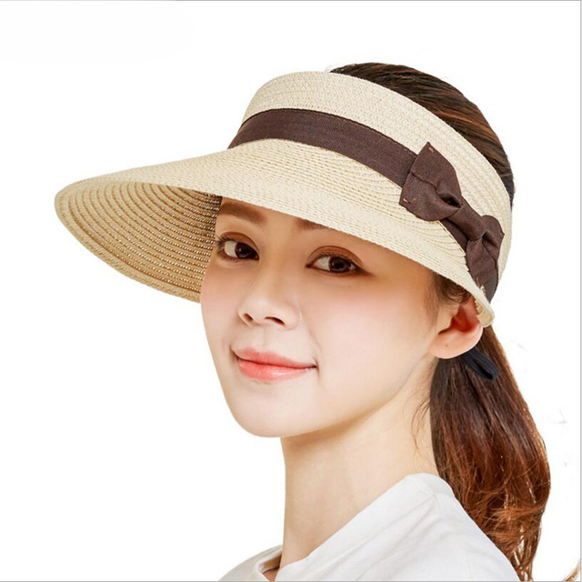 2018 New Lady Fashion Summer Brand Women s Sun Hats Woman Caps Solid Straw  Empty top Bowknot Shade Sunscreen Girl e179d1387621