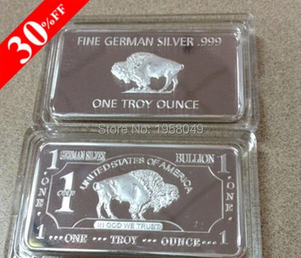 1 Troy Ounce Buffalo German Silver Bullion Bar Buffalo Brass 999 Pure Silver Clad Bar German