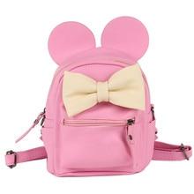 COOL WALKER Fashion female bag quality leather women's bag backpacks mini Cute Animals bow sweet ears Wind School Baby backpack