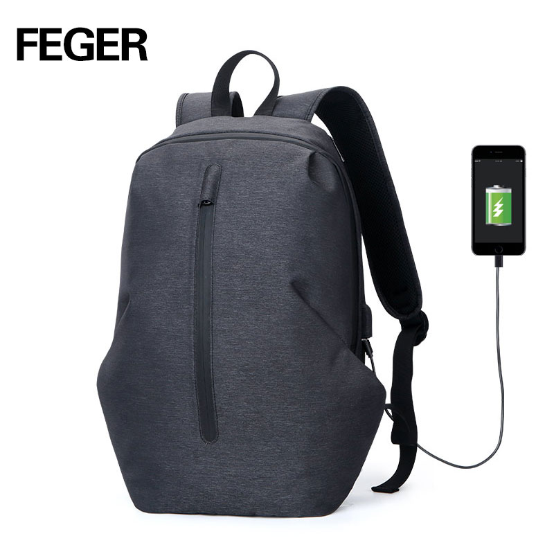 1ec88fb3a4735 FEGER USB Charge waterproof Anti Theft Backpack Men 15inch Laptop Backpacks  Fashion Travel School Bags male
