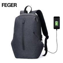 FEGER USB зарядка влагозащищенный Противоугонный рюкзак для мужчин 15 дюймов ноутбук рюкзаки модные дорожные школьные сумки Мужская школьная сумка