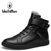 Blaibilton Brand Ankle Snow Boots Men Shoes 100% Genuine Leather Winter Warm Velvet Fashion Cow Motocycle Casual Boot Male SD889