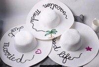 Женщины большой летом соломенная шляпа пляж шляпа блестки письмо