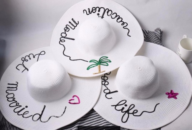 women large summer straw hat beach hat sequins letter