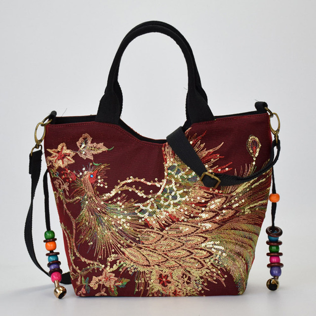Canvas Women Handbag National Phoenix Embroidered Shoulder Totes Messenger Bag Leisure Crossbody Beach Travel Bag 2
