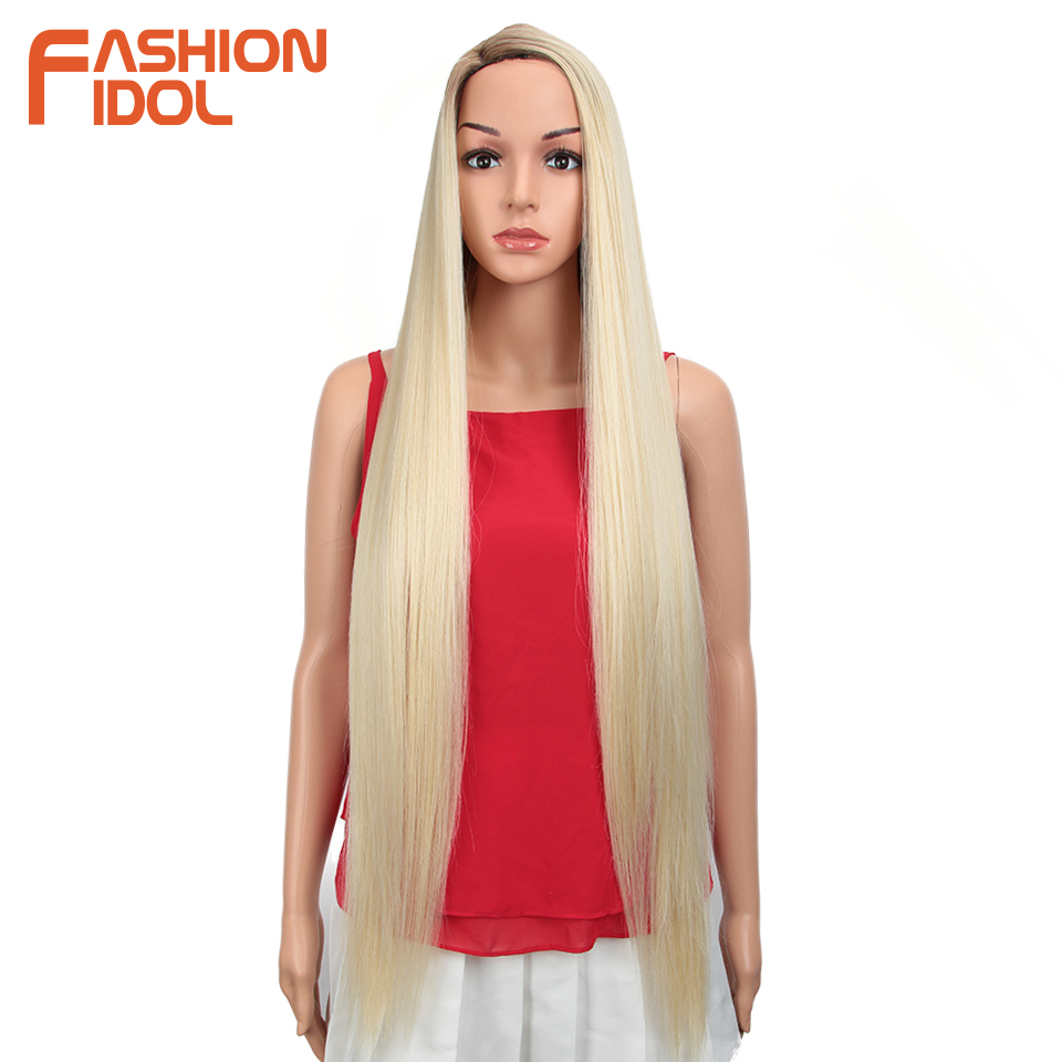 FASHION IDOL 38inch Straight Long Synthetic Wigs For Black Women High Temperature Hair Ombre 613 Red Cosplay Wigs Synthetic Hair(China)