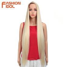 FASHION IDOL 38inch Straight Long Synthetic Wigs For Black Women High Temperature Hair Ombre 613 Red Cosplay