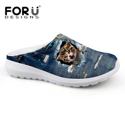 Breathable men Clogs Shoes Denim Cute Animal Cat Print men Beach Slippers Autumn Summer Brand Sandals Casual Shoes