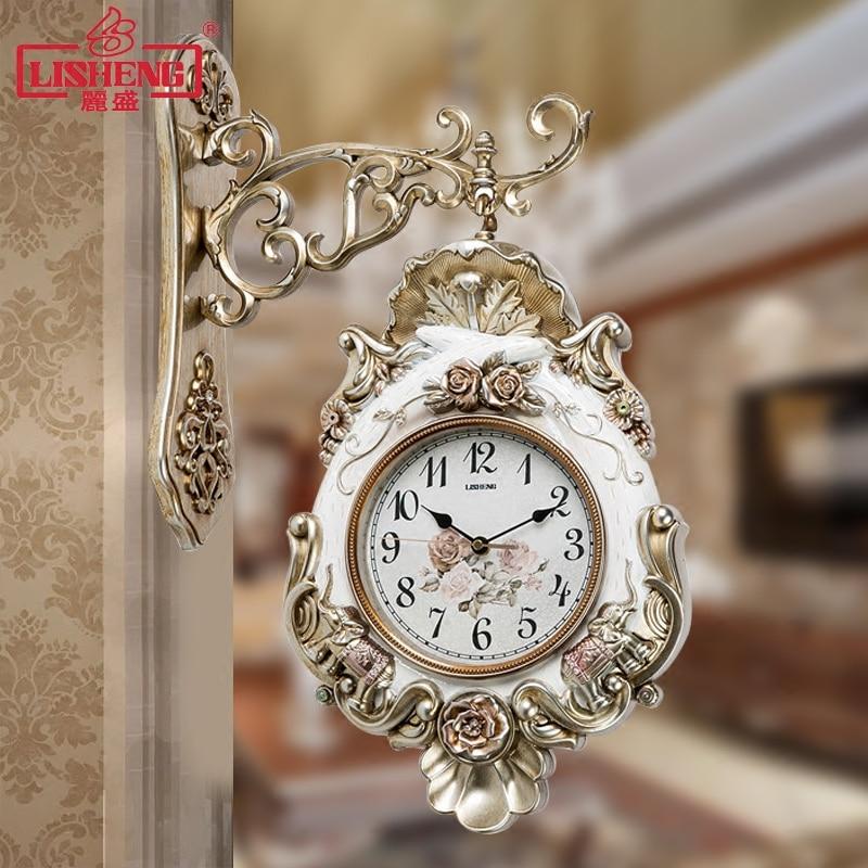 European Double-sided Clock Living Room Mute Wall Clock Quartz Clock Retro Creative Decoration