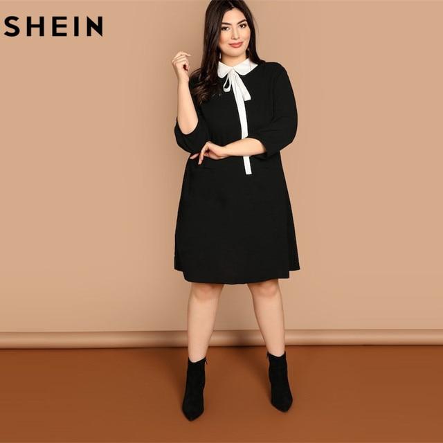 SHEIN Plus Size Tie Neck Peter Pan Collar Preppy Style Women Black Straight Dress 2019 Spring Three Quarter Sleeve Dresses 4