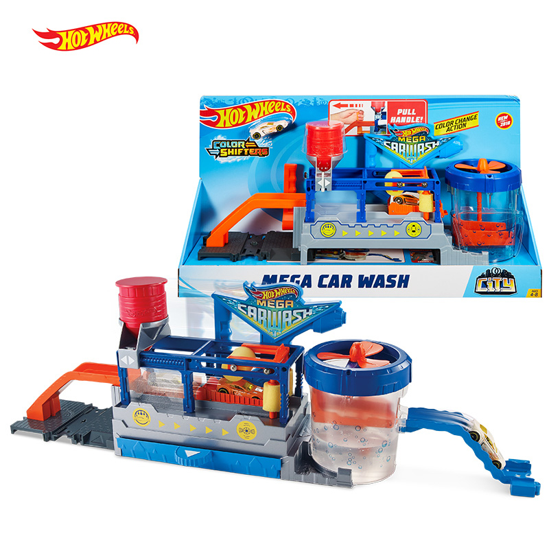 Original Hot Wheels Track City Mega Car Wash Connectable Play Set Diecast Discolour Hotwheels Toys for
