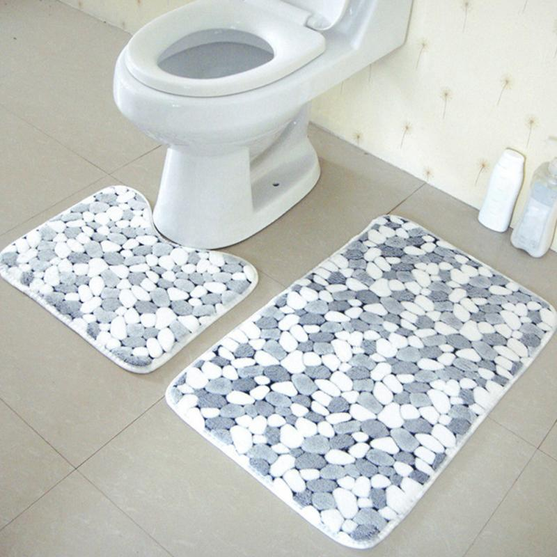 2pcs Set New Non Slip Bath Mat Fashion Soft Strong Anti Gray Stone Include 50 80cm Shower And Pedestal 40 50cm