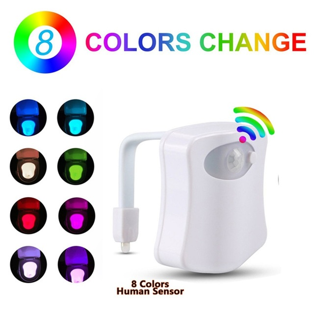 Smart Motion Sensor Toilet Seat Night Light 8 Colors Waterproof Backlight For Toilet Bowl LED Luminaria