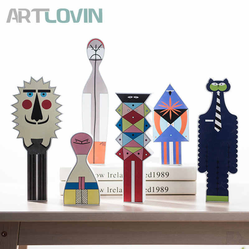 Modern Abstract Wooden People Figurines Creative Wood Monsters Miniatures Ornaments For Home Decor Cute Kids Gift New Arrival