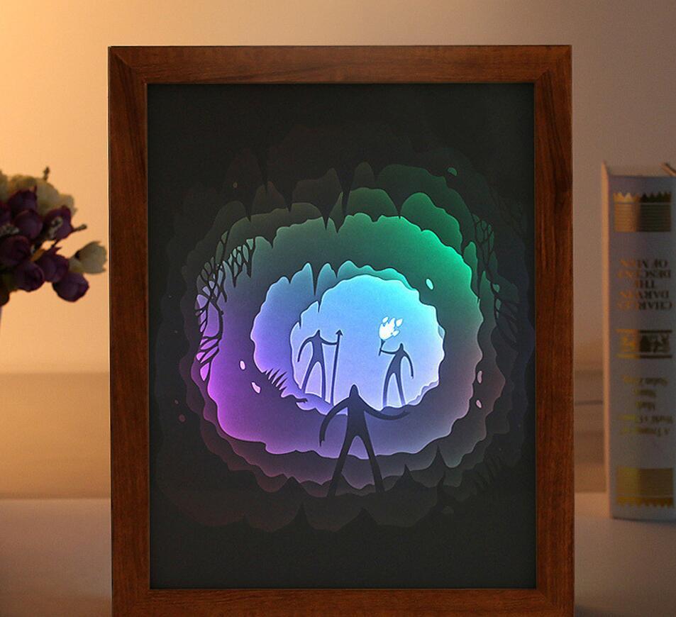 USB צבעוני 3D גברים לחתוך נייר מסגרת תמונה Troch צל אור בלילה לבית לקשט משרד מזכרות מתנת יום הולדת לטובת