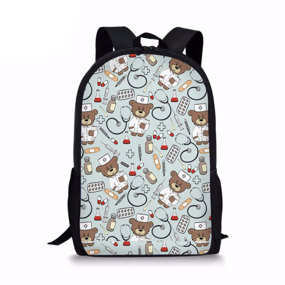 Cartoon Bear Doctor Nurse Kids Bags School Backpack For Child Girl School Bag For Kindergarten Children Backpack mochila