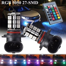 2pcs pair 5050 27SMD 3 Core LED RGB Remote Control Car Headlight DRL Flash Fog Light