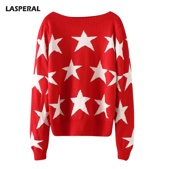 Lasperal Slash Neck Knitted Sweater Women Long Sleeve Casual Star