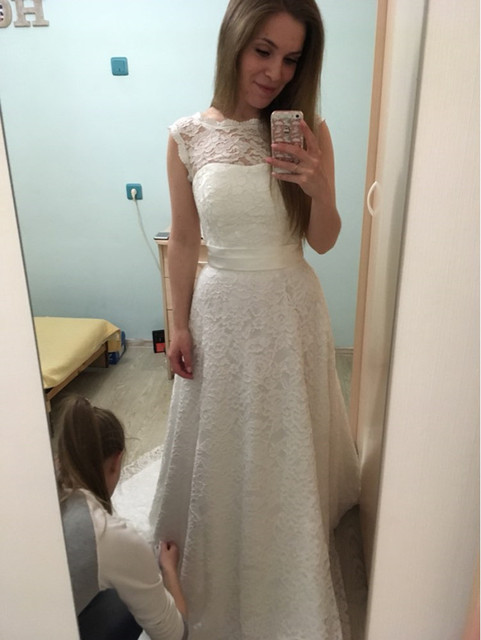 Us 1480 Simple Wedding Dresses With Short Sleeve Boho Bride Gowns With Bow Beach Vestido De Novia Longo Robe De Mariee Lace Wedding Gown In Wedding