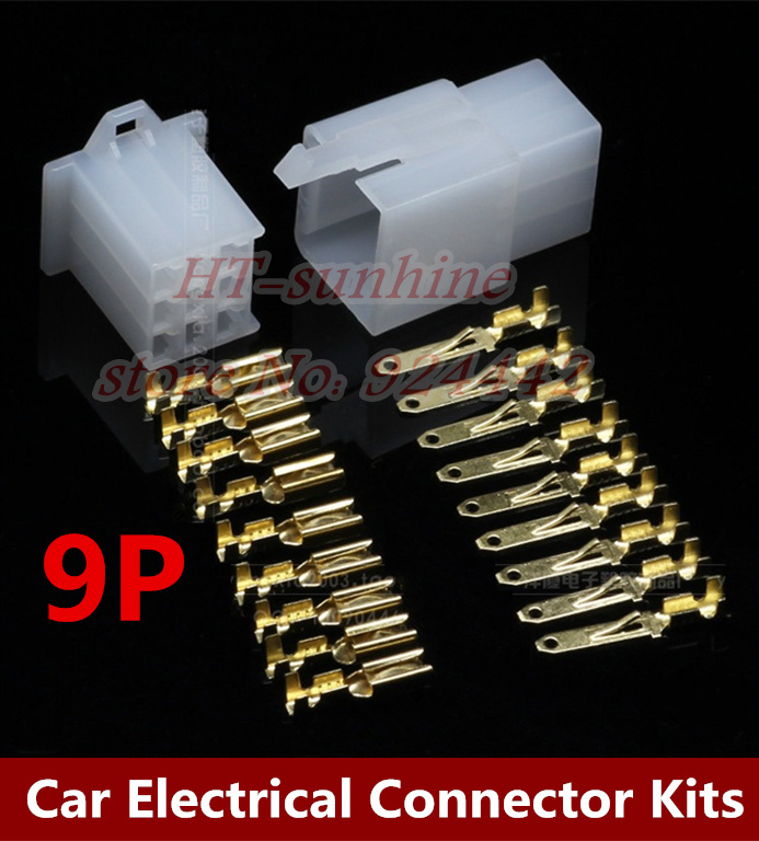 Hot sale 500Sets/LOT 2.8mm connector 9Pin Electrical 2.8 Connector Kits Male Female socket plug for Motorcycle Motorbike Car