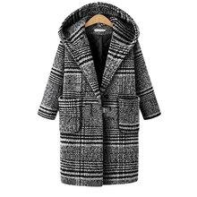 Зимний Европейский стиль размера плюс XL-5XL Женская шерстяная и смешанная платная куртка с капюшоном Базовая куртка черная верхняя одежда цена в долларах