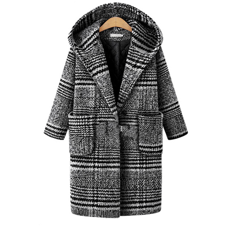 2018 Winter European Style Plus Size XL 5XL Women Wool&Blends Paid Jackets Hooded Basic Coats Black Outerwear Dollar Price