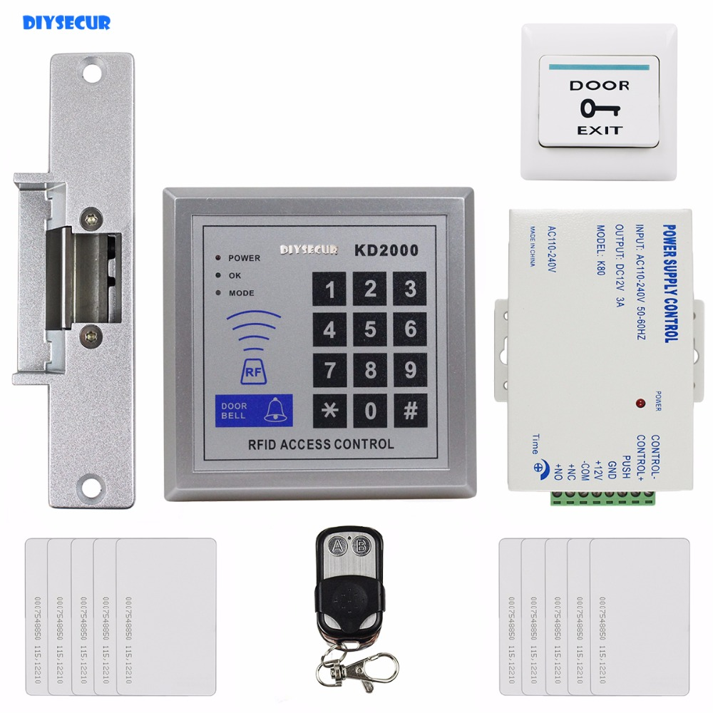 DIYSECUR Remote Control 125KHz RFID ID Card Reader Password Keypad Access Control Security System Kit + Strike Lock KD2000 chinese yunnan pu er ripe tea brick tea 250g f141